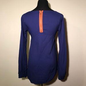 Zara Blue Top Orange Zip Back Long Sleeves Small